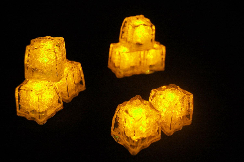 Set of 8 Litecubes  Brand Jewel Color Tinted Topaz Yellow Light up LED Ice Cubes