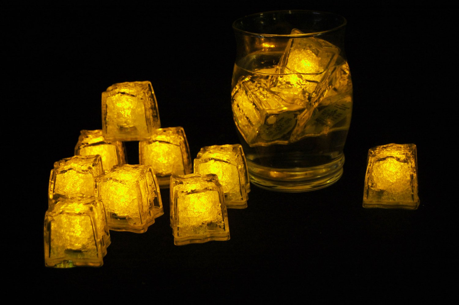 Set of 12 Litecubes  Brand Jewel Color Tinted Topaz Yellow Light up LED Ice Cubes