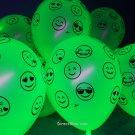 25 Pack Neon Yellow 11 inch UV Blacklight Reactive Latex Emoji Balloons