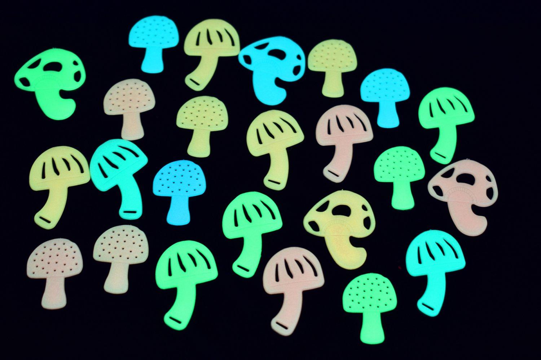 24 Piece Glow in the Dark Multicolor Groovy Shrooms