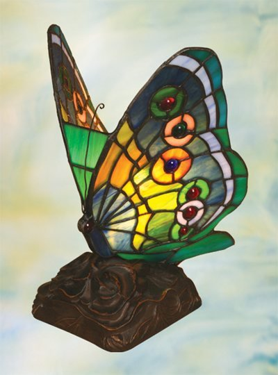 Butterfly Tiffany Styled Night Lamp - Green