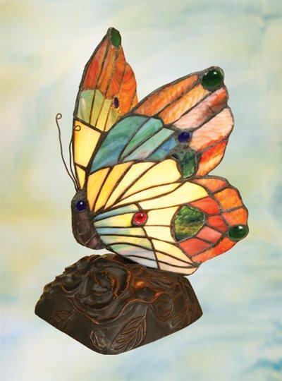 Butterfly Tiffany Styled Night Lamp - Orange