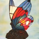 Butterfly Tiffany Styled Night Lamp - Red & Blue