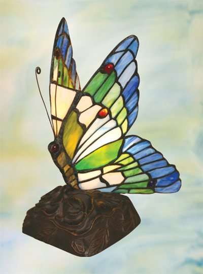 Butterfly Tiffany Styled Night Lamp - Blue & Green