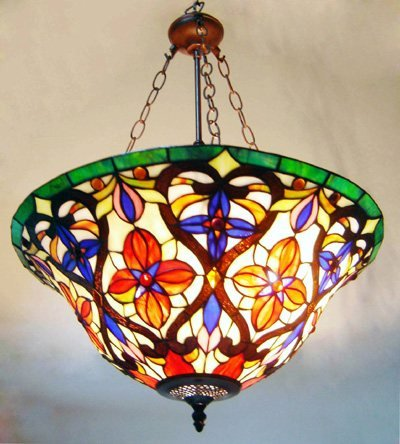 Victorian Reverse Tiffany Styled Hanging Lamp