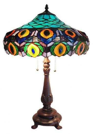 Dark Peacock Tiffany Styled Table Lamp