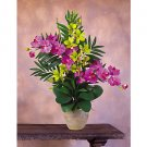 Double Phal/Dendrobium Silk Orchid Arrangement - Yellow