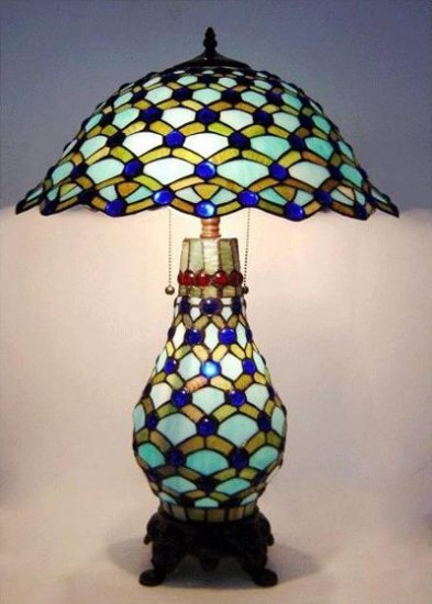 Peacock Design Lighted Base Tiffany Styled Table Lamp