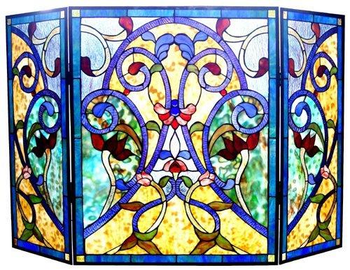 Bluesy Huge Victorian Design Tiffany Styled Fireplace Screen