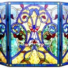 Bluesy Huge Victorian Design Tiffany Styled Fireplace Screen