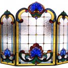 Victorian Royal Beauty Stained Glass Fireplace Screen