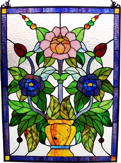 Fantastic Floral Design Stained Glass Panel