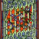 Jeweled Art Noveau Floral Stained Glass Pane