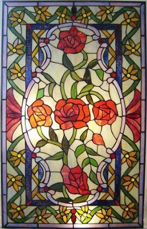 Roses Design Stained Glass Panel