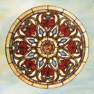 Round Victorian Design Stained Glass Panel