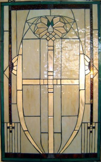 Unique Mission Design Stained Glass Panel