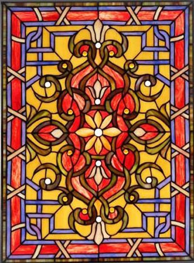 Victorian Reds Design Stained Glass Panel