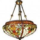 Victorian Reverse Helmet Tiffany Styled Hanging Lamp