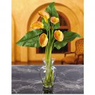 Calla Lily Liquid Illusion w/Leaves - Yellow
