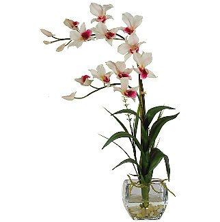Dendrobium Liquid Illusion Silk Flower - White