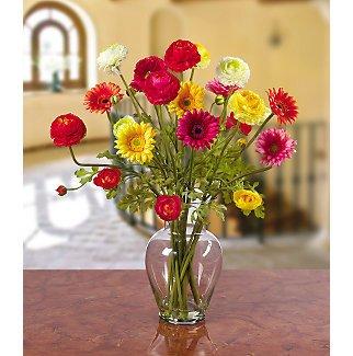 Gerber & Ranunculus Silk Flower Arrangement