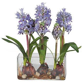Hyacinth w/Rectangle Vase Silk Flower - Blue