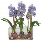 Hyacinth w/Rectangle Vase Silk Flower - Blue