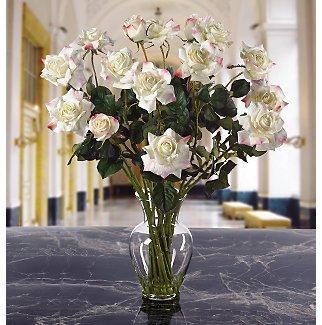 Long Stem Roses Liquid Illusion Silk Flowers - White