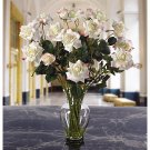 Long Stem Roses Liquid Illusion Silk Flowers - White