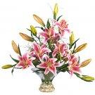 Rubrum Lilly W/Gourmet Glass Bowl Silk Flowers