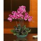 Triple Phalaenopsis Silk Orchid Arrangement w/Turquoise Vase