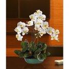 Triple Phalaenopsis Silk Orchid Arrangement w/Turquoise Vase - WY