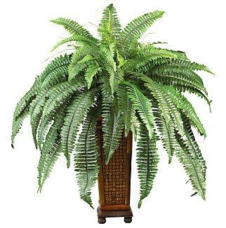 Boston Fern w/Decorative Wood Vase Silk Plant