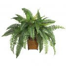 Boston Fern w/Wicker Basket Silk Plant