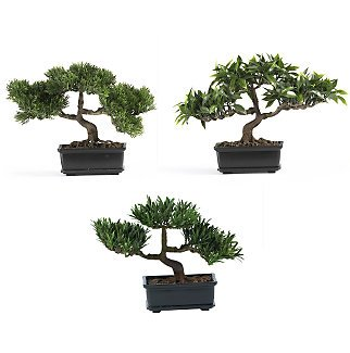"Set of 3 12"" Bonsai Silk Plant Collection"