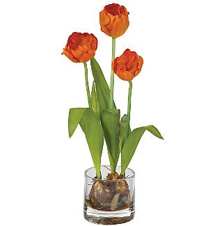 Tulips w/Round Vase Silk Flower Arrangement