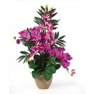Double Phal w/Dendrobium Silk Orchid - Orchid Purple