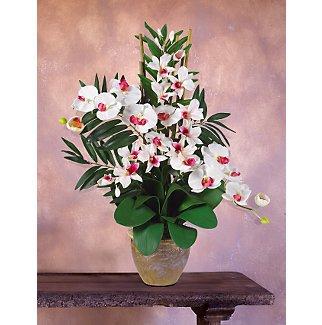 Double Phal W/Dendrobium Silk Orchid - White On White