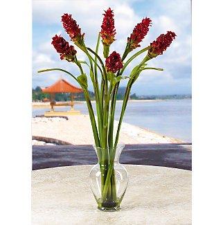 Oriental Ginger Liquid Illusion Silk Flowers - Red Green