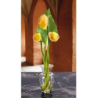 Calla Lily Liquid Illusion w/Leaf Silk Flowers - Yellow