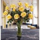 Long Stem Roses Liquid Illusion Silk Arangement - Yellow