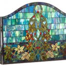 Castle Wall & Vines Stained Glass Fireplace Screen