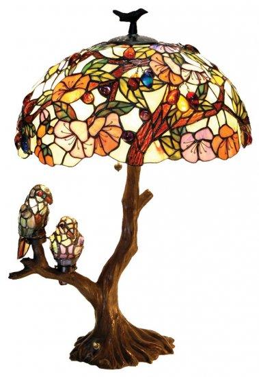 Flowers w/Birds Tiffany Styled Table Lamp