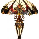 Victorian Tiffany Styled Lit Base Table Lamp