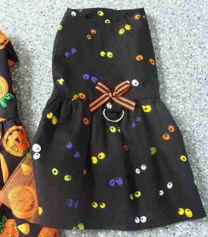 Halloween SPOOKY EYES Dog Clothes Harness Dress ~ 3 Sizes