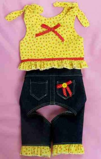 XS Yorkie Dog Jeans & Tank Shirt Set ~ Sunny Yellow