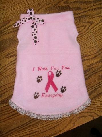 I WALK Breast Cancer Awareness Dog Clothes Dress - 4 sizes
