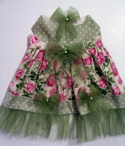 Vintage Rose SAGE GREEN Dog Clothes:  Dress / Hairbow - 4 Szs Available