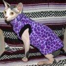 Sphynx Cat Clothes - Purple Leopard Fleece Shirt