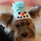 Snowman Crocheted Dog Hat - SZ XS or SM